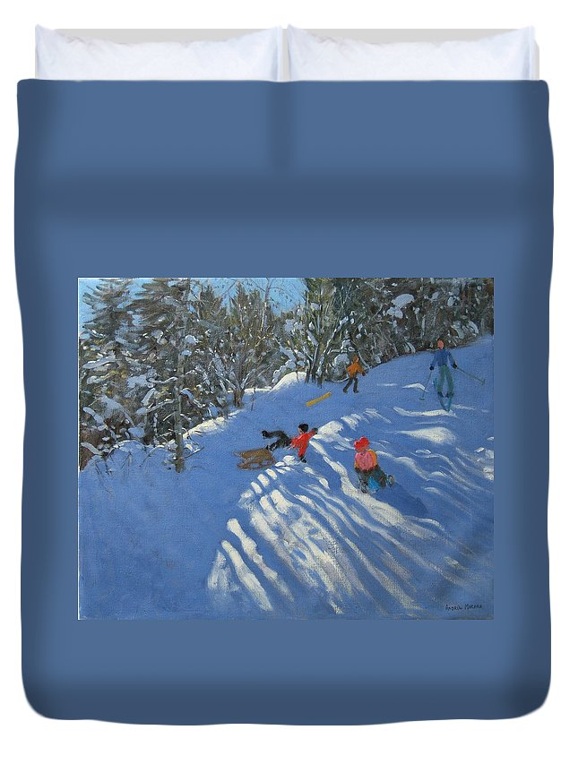 Sled Duvet Cover featuring the painting Falling Off The Sledge by Andrew Macara