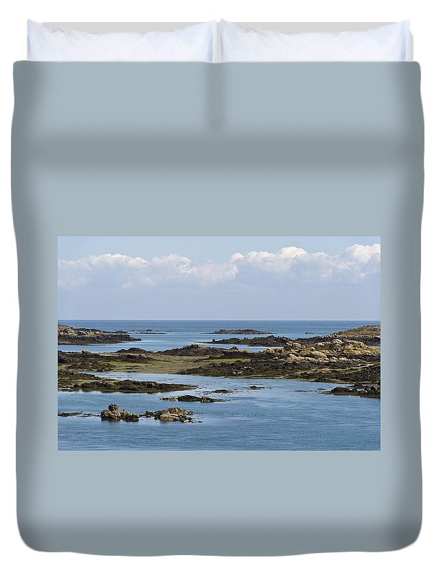 Normandy Duvet Cover featuring the photograph Falling Tide Iles Chausey by Gary Eason