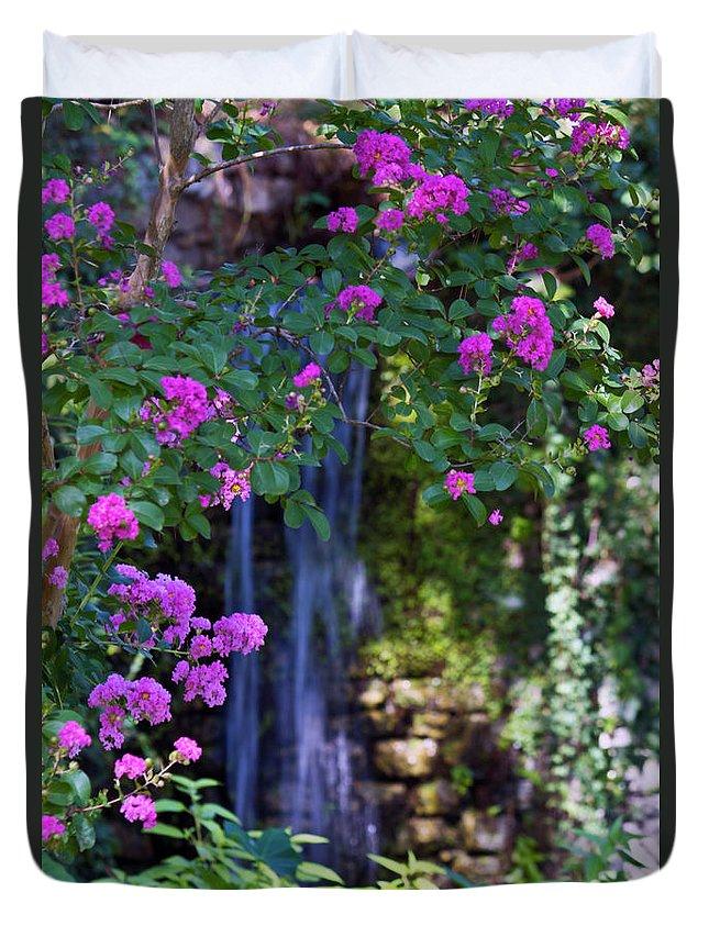 Flowers Duvet Cover featuring the photograph Falling Water by Ken Frischkorn