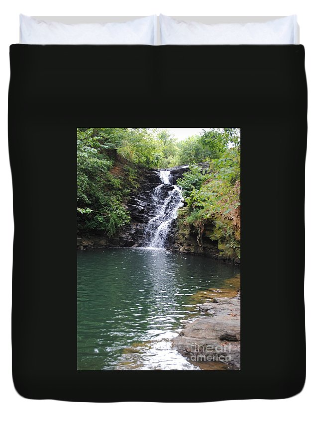 Waterfall Duvet Cover featuring the photograph Falls Into The Pond by Jost Houk