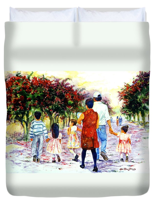 Mexico Paintings Duvet Cover featuring the painting Family Love Union Familiar by Estela Robles