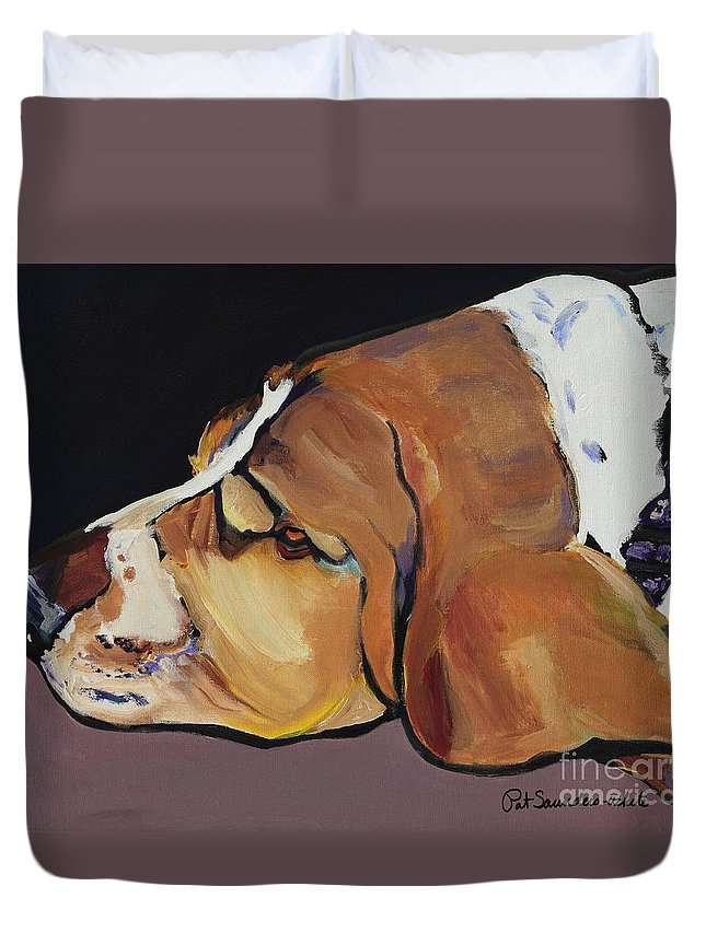 Animal Portrait Duvet Cover featuring the painting Farley by Pat Saunders-White
