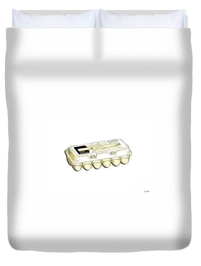 Farm Duvet Cover featuring the painting Farm Fresh Eggs by George Pedro