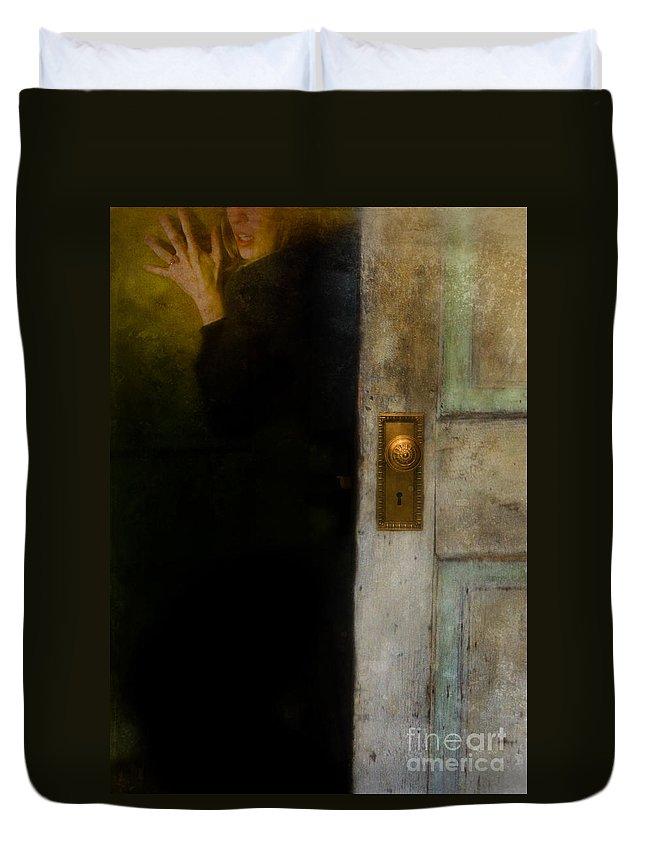 Woman Duvet Cover featuring the photograph Fear by Jill Battaglia