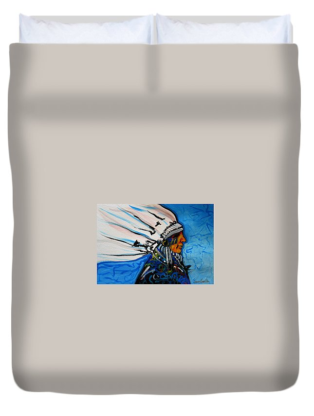 Native American Duvet Cover featuring the painting Feather Head by Lance Headlee