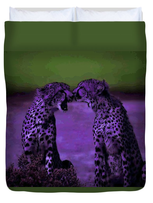 Cheetahs Duvet Cover featuring the photograph Feelings by George Pedro