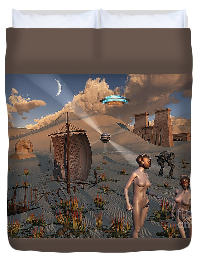Digitally Generated Image Duvet Cover featuring the digital art Female Explorers Study Ancient Egyptian by Mark Stevenson