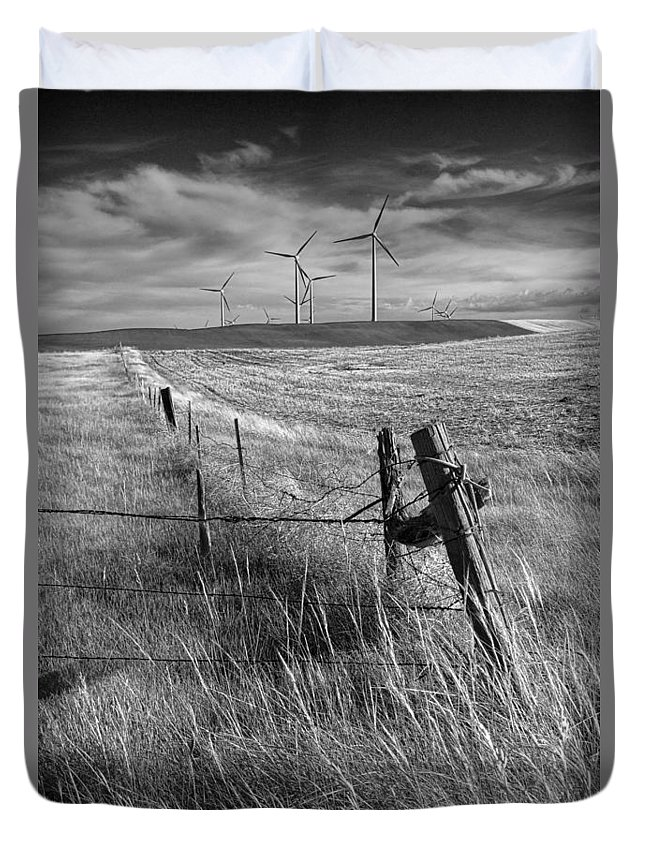 Power Duvet Cover featuring the photograph Fence Corner And Wind Turbines On A Farm In Alberta by Randall Nyhof