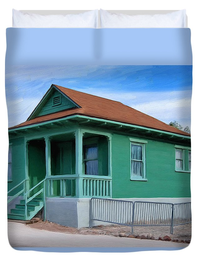Old House Duvet Cover featuring the painting Fenced Yard by Dominic Piperata