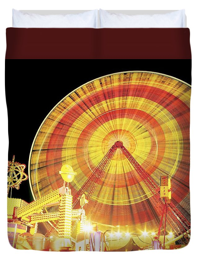 Amusement Park Duvet Cover featuring the photograph Ferris Wheel And Other Rides, Derry by The Irish Image Collection