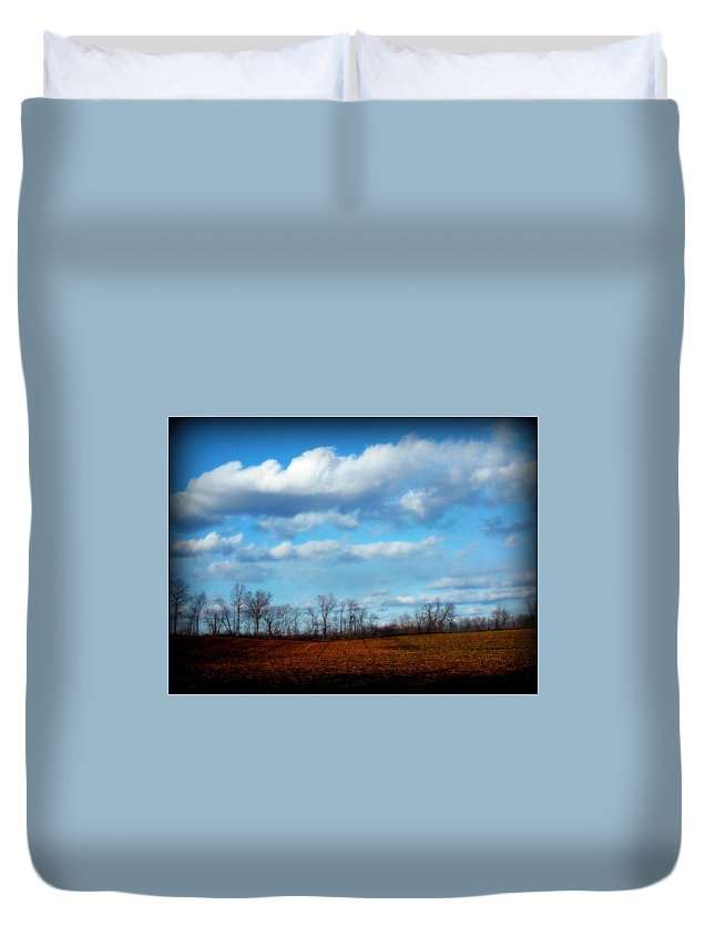 Trees Duvet Cover featuring the photograph Fields Of Yellow by Michele Nelson