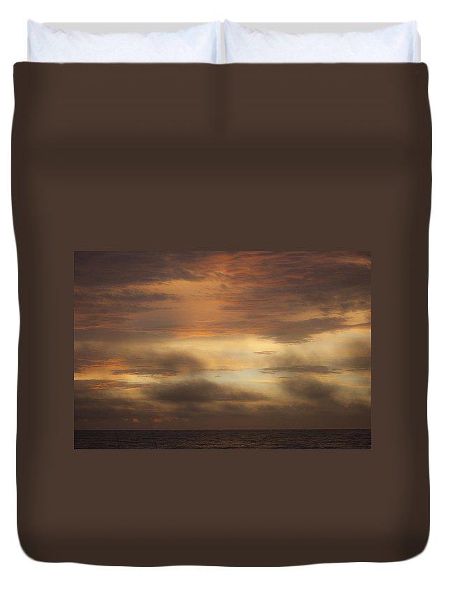 Sunrise Duvet Cover featuring the photograph Fiery Atlantic Sunrise 1 by Teresa Mucha