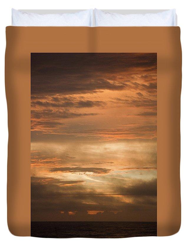 Sunrise Duvet Cover featuring the photograph Fiery Atlantic Sunrise 2 by Teresa Mucha
