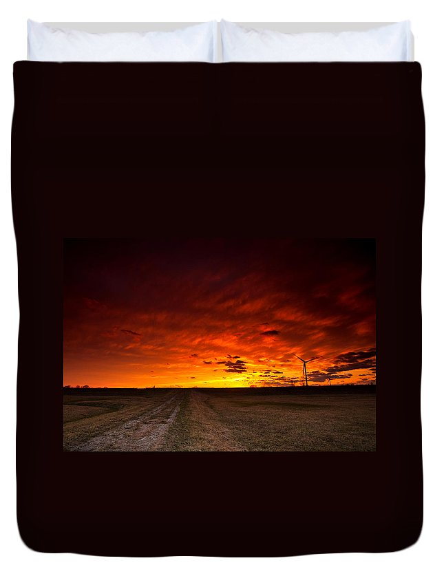 Sunset Duvet Cover featuring the photograph Fiery Sunset by Cale Best