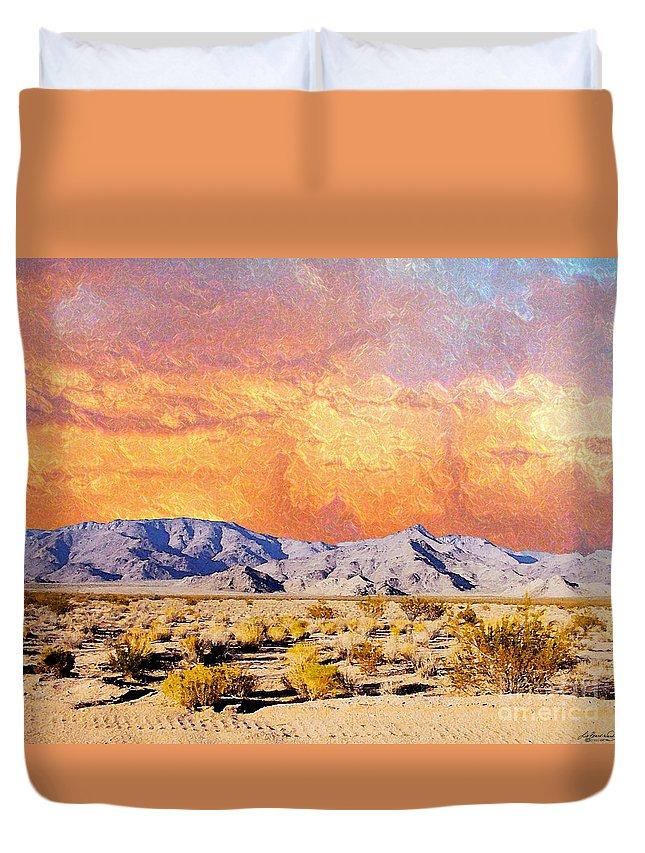Arizona Duvet Cover featuring the digital art Fiery Western Sky Antarres Road Az by Lizi Beard-Ward