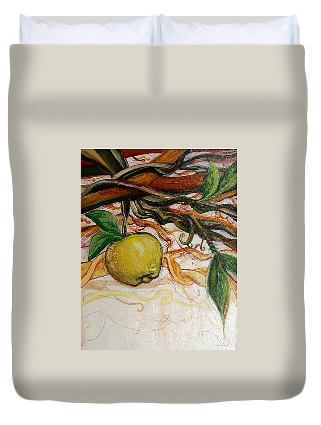 Apple Duvet Cover featuring the painting Fifth World Five by Kate Fortin