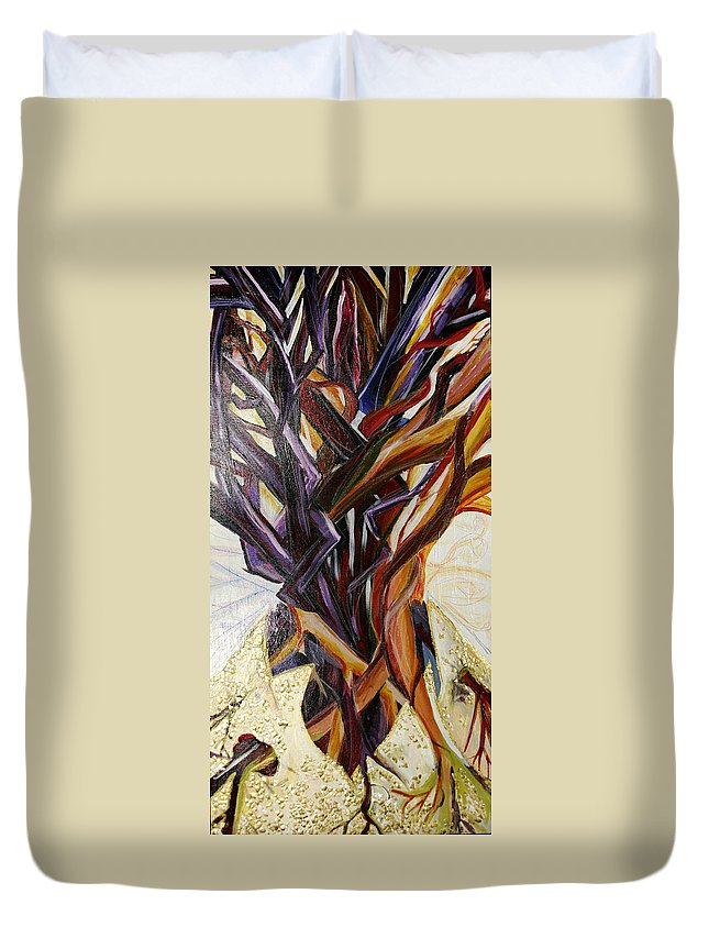 Apple Duvet Cover featuring the painting Fifth World Three by Kate Fortin