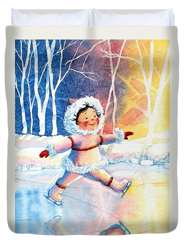 Childrens Book Illustrator Duvet Cover featuring the painting Figure Skater 11 by Hanne Lore Koehler