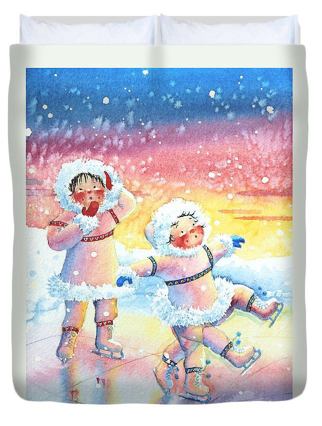 Childrens Book Illustrator Duvet Cover featuring the painting Figure Skater 9 by Hanne Lore Koehler