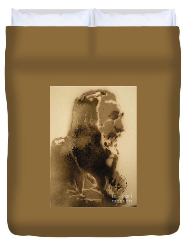 Fildel Castro Duvet Cover featuring the painting Fildel Castro by Barry Boom
