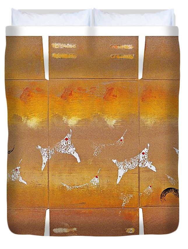 Native Duvet Cover featuring the painting Fire Flight by Charles Stuart