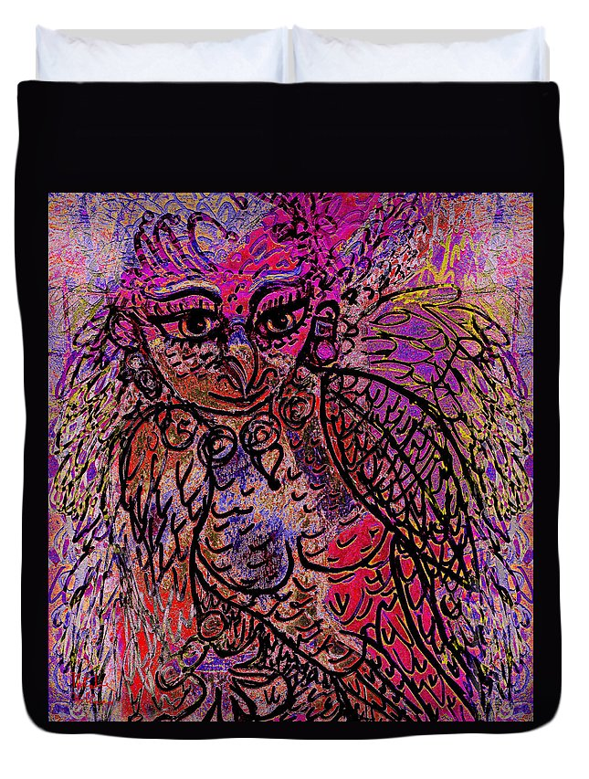 Fantasy Duvet Cover featuring the mixed media Firebird by Natalie Holland
