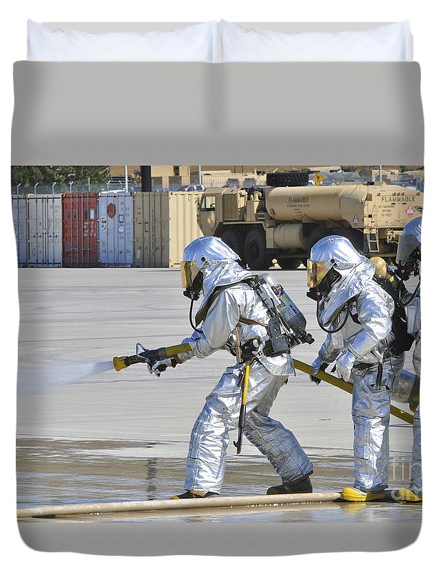 Guidance Duvet Cover featuring the photograph Firefighters Execute Fire Containment by Stocktrek Images