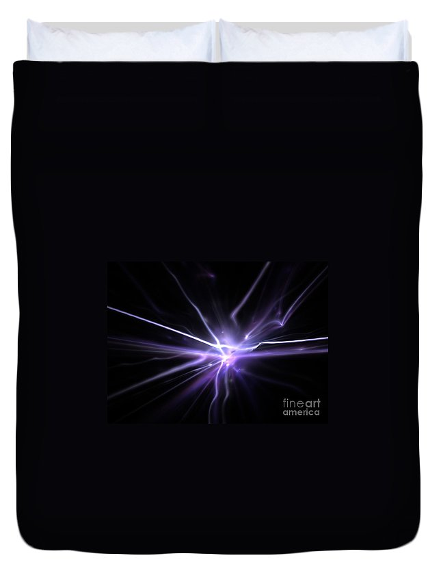 Abstract Duvet Cover featuring the digital art Firefly by Kim Sy Ok