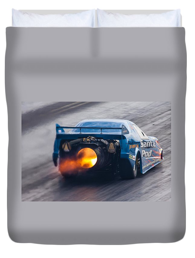 Fireforce Duvet Cover featuring the photograph Fireforce Jet Funny Car by Ken Brannen