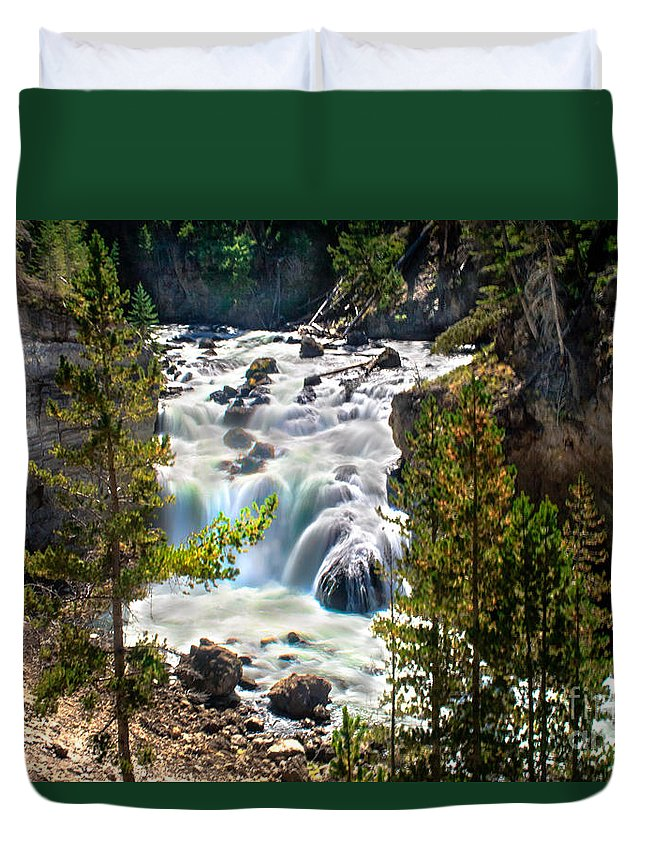 Scenic Duvet Cover featuring the photograph Firehole River Falls by Robert Bales