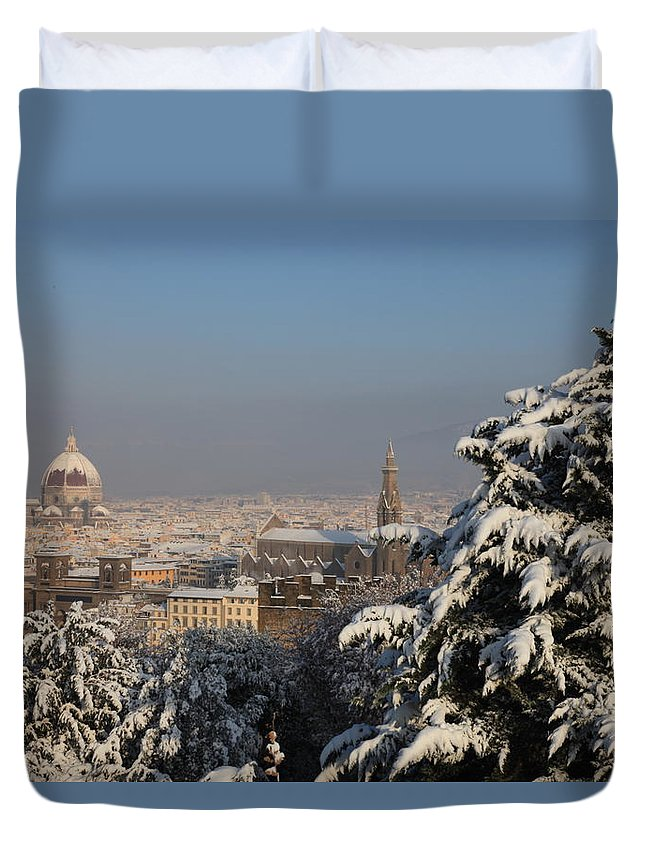 Snow Duvet Cover featuring the photograph Firenze Under The Snow by Francesco Scali