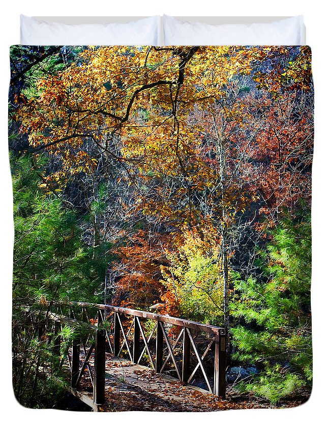 North Carolina Duvet Cover featuring the photograph Fire's Creek Bridge by Stephen Warren