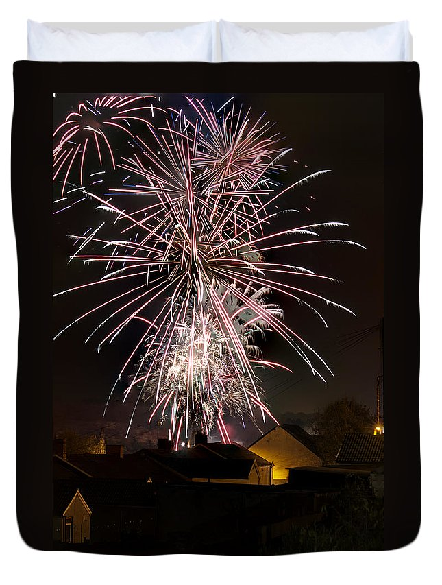 Fireworks Duvet Cover featuring the photograph Fireworks 2 by Steve Purnell