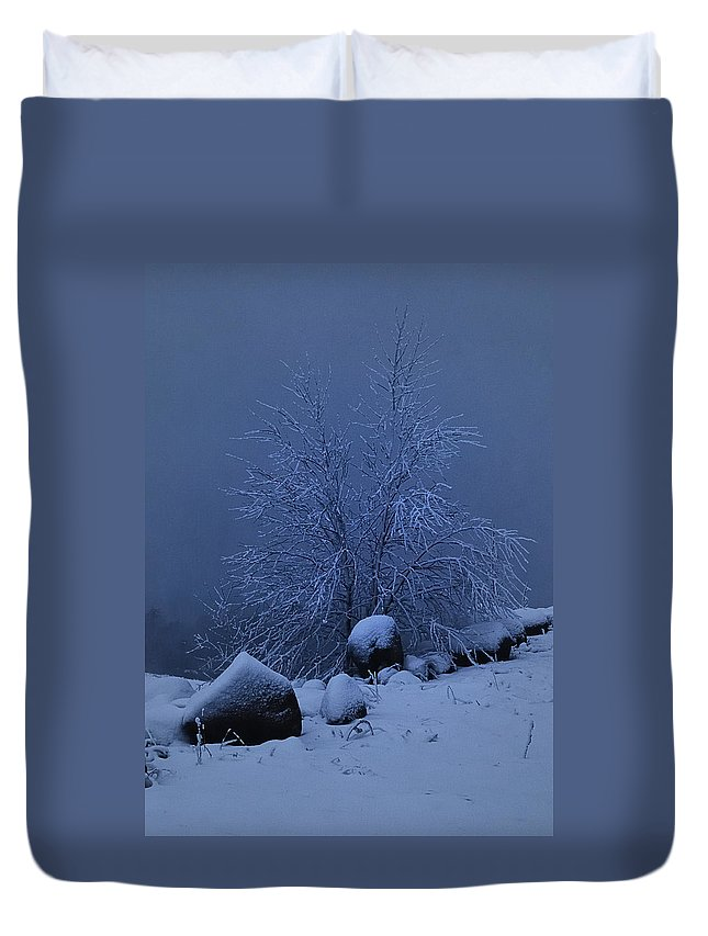 Nature Duvet Cover featuring the photograph First Light First Snow II by Susan Capuano