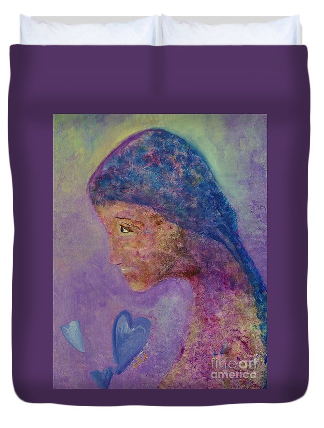 Girl Duvet Cover featuring the painting First Love by Claire Bull