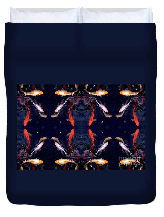 Fish Duvet Cover featuring the digital art Fish Ballet by Dale  Ford