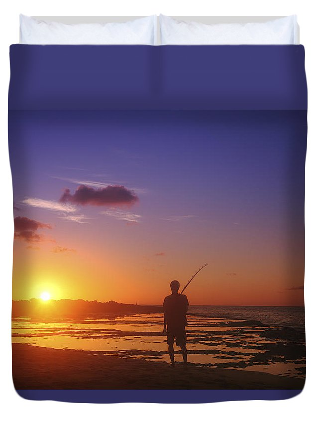 Beauty Duvet Cover featuring the photograph Fisherman At Sunset by Vince Cavataio - Printscapes