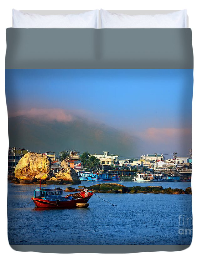 Fisherman Duvet Cover featuring the photograph Fisherman Boat At Sunrise by MotHaiBaPhoto Prints