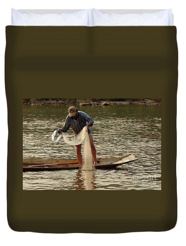Laos Duvet Cover featuring the photograph Fisherman Mekong 2 by Bob Christopher
