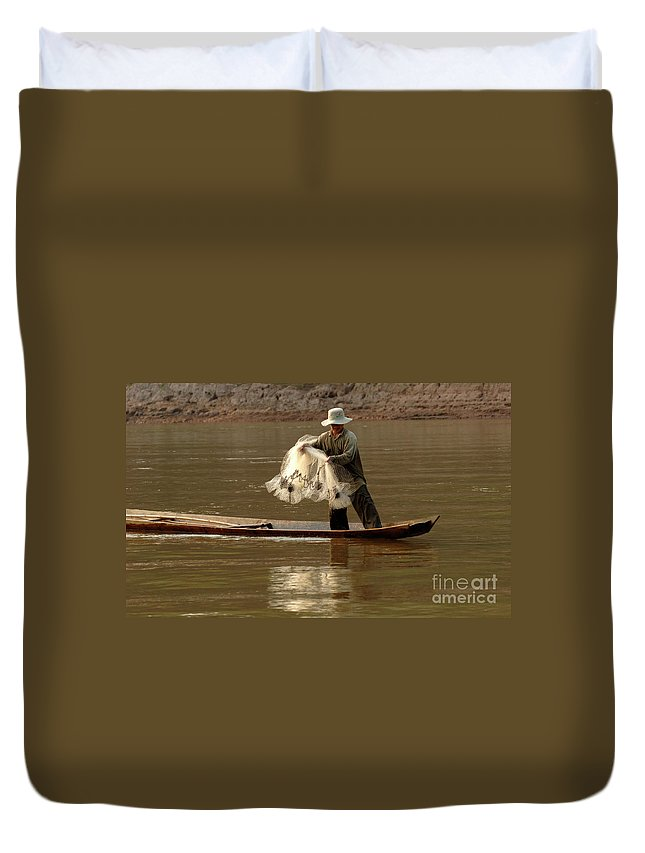 Laos Duvet Cover featuring the photograph Fisherman Mekong 3 by Bob Christopher