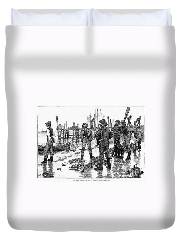 1884 Duvet Cover featuring the photograph Fishermen On Shore, 1884 by Granger