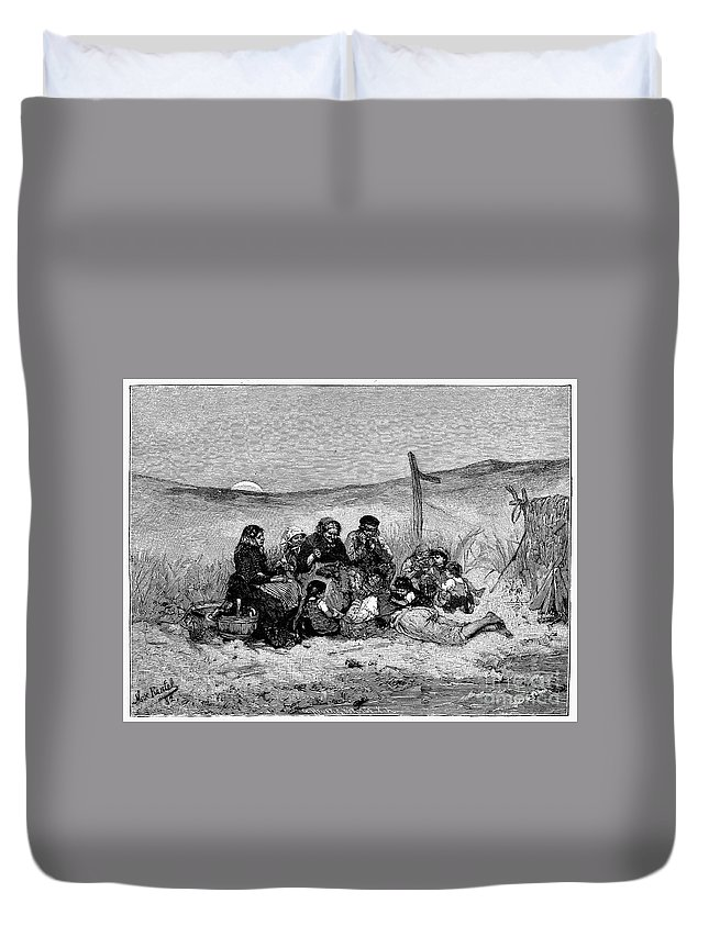 1882 Duvet Cover featuring the photograph Fishing Boat, 1882 by Granger