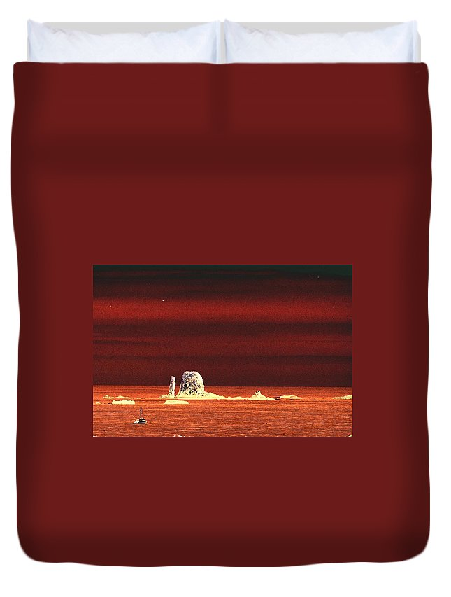 Ocean Duvet Cover featuring the photograph Fishing Boat By Sea Stacks by One Rude Dawg Orcutt