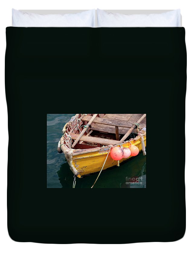Sea Duvet Cover featuring the photograph Fishing Boat by Carlos Caetano