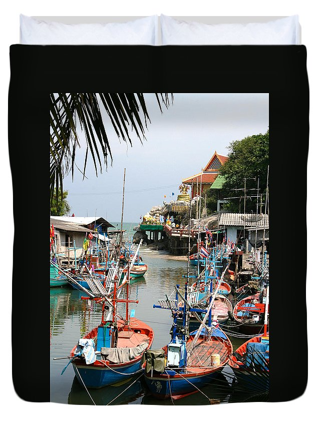 Temple Duvet Cover featuring the photograph Fishing Boats by Adrian Evans
