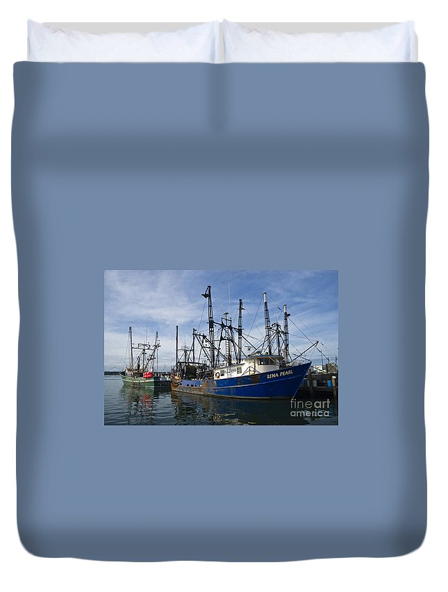 Atlantic Duvet Cover featuring the photograph Fishing Boats At Dock by Tim Mulina