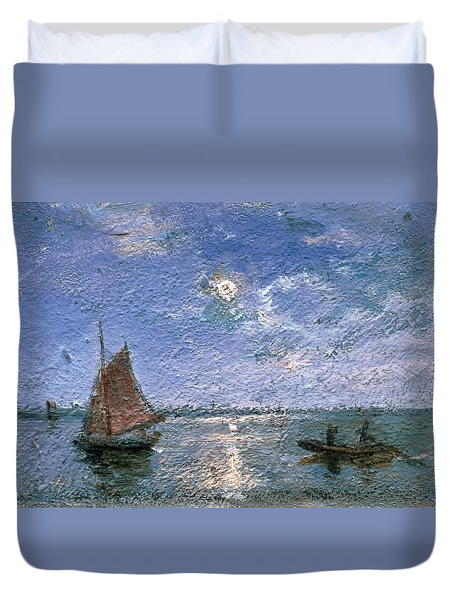 Fishing Boats By Moonlight Duvet Cover featuring the painting Fishing Boats By Moonlight by Alfred Wahlberg