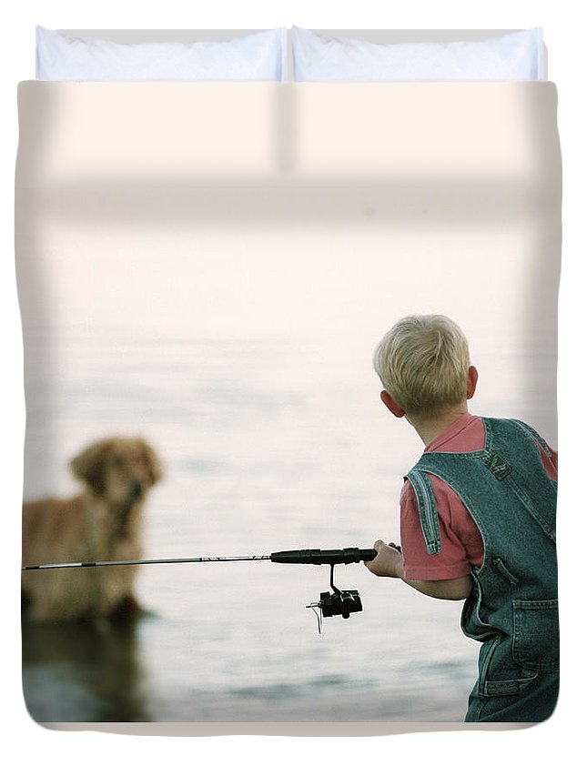 Light Duvet Cover featuring the photograph Fishing Boy by Darwin Wiggett