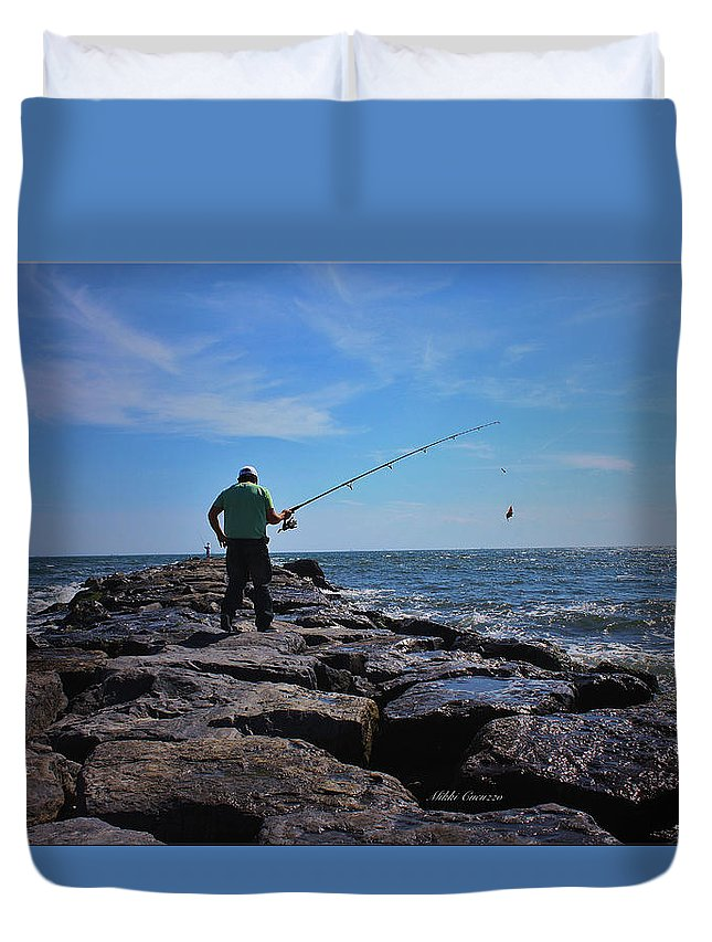 Fishing Duvet Cover featuring the photograph Fishing Off Of The Jetty by Mikki Cucuzzo
