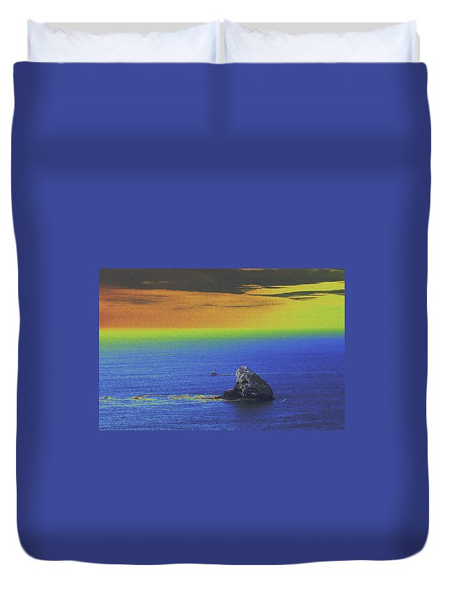 Water Duvet Cover featuring the photograph Fishing On The Ocean by One Rude Dawg Orcutt